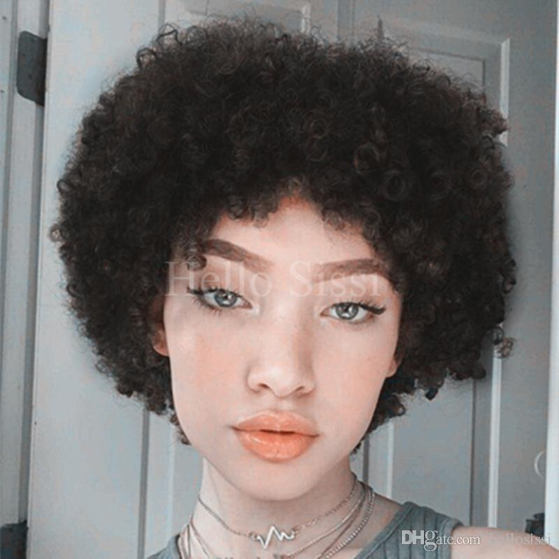 Celebrity Afro Kinky Curl Brazilian Virgin Human Hair Short Wigs 100