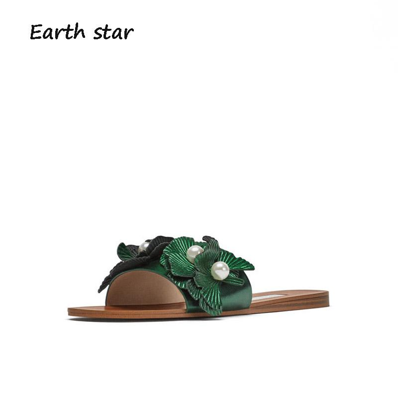 e214e2b0274141 EARTH STAR Summer Playa Slides Shoes Women Mule Brand Beach Slippers Pearl  Flats Lady Footware String Bead Girl Chaussure Flower Pink Shoes High Heel  Boots ...