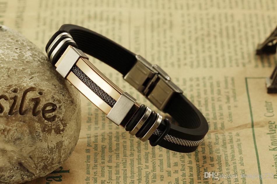 MNWT Hommes Bracelets silicone noir en acier inoxydable Charm Bracelet Homme Bracelet pour Hommes Bijoux Argent Couleur Or Rose