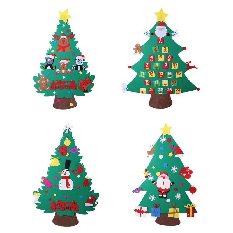 kids diy felt christmas tree with ornaments 2018 new year door wall hanging xmas decoration children christmas gifts online with 2054piece on