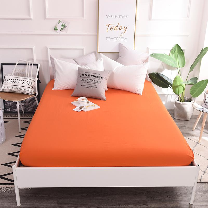 Vivid Fashion Orange Solid Color Sheets Fitted Bed Sheet Elastic Mattress  Cover Bed Linen Bedspread Cotton Single 200x220cm King Size Bedspreads Only  Shabby ...