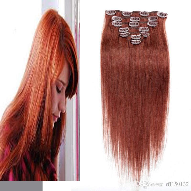 Straight Clip In Human Hair Extensions Clip In Remy Human Hair