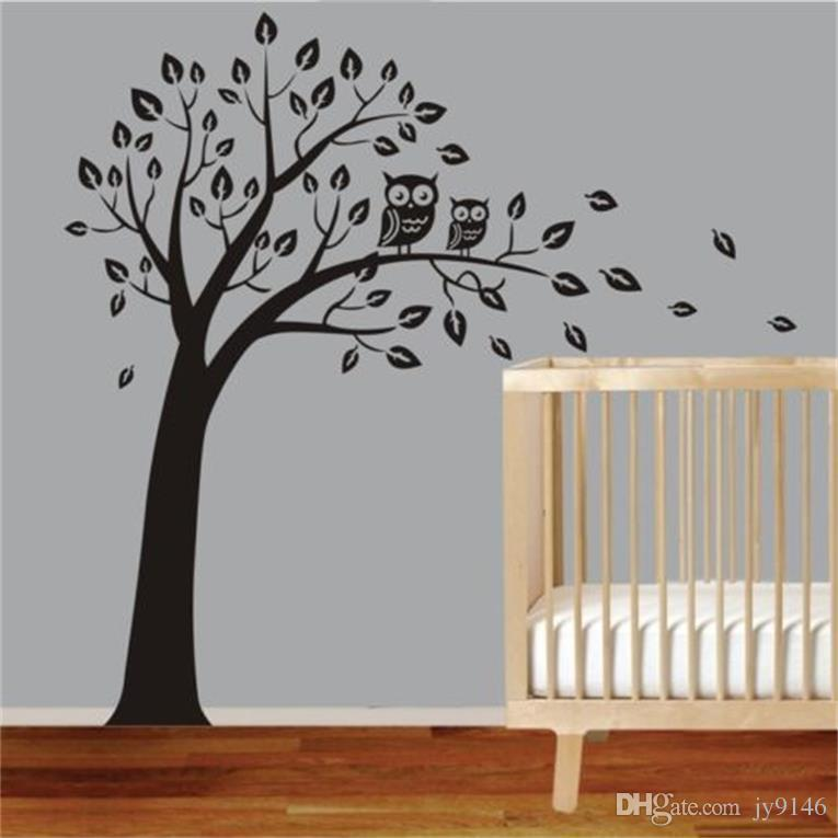 Large Size Owl and Tree Wall Sticker PVC 4 Styles Plant Wall Art for Living Room Decoration DIY Wall Decal for Kids