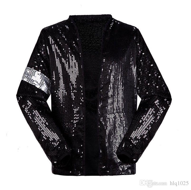 Classic MJ Michael Jackson Billie Jean Sequin Jacket Kids Adults Show  Pacthwork Black Outwear Plus Size