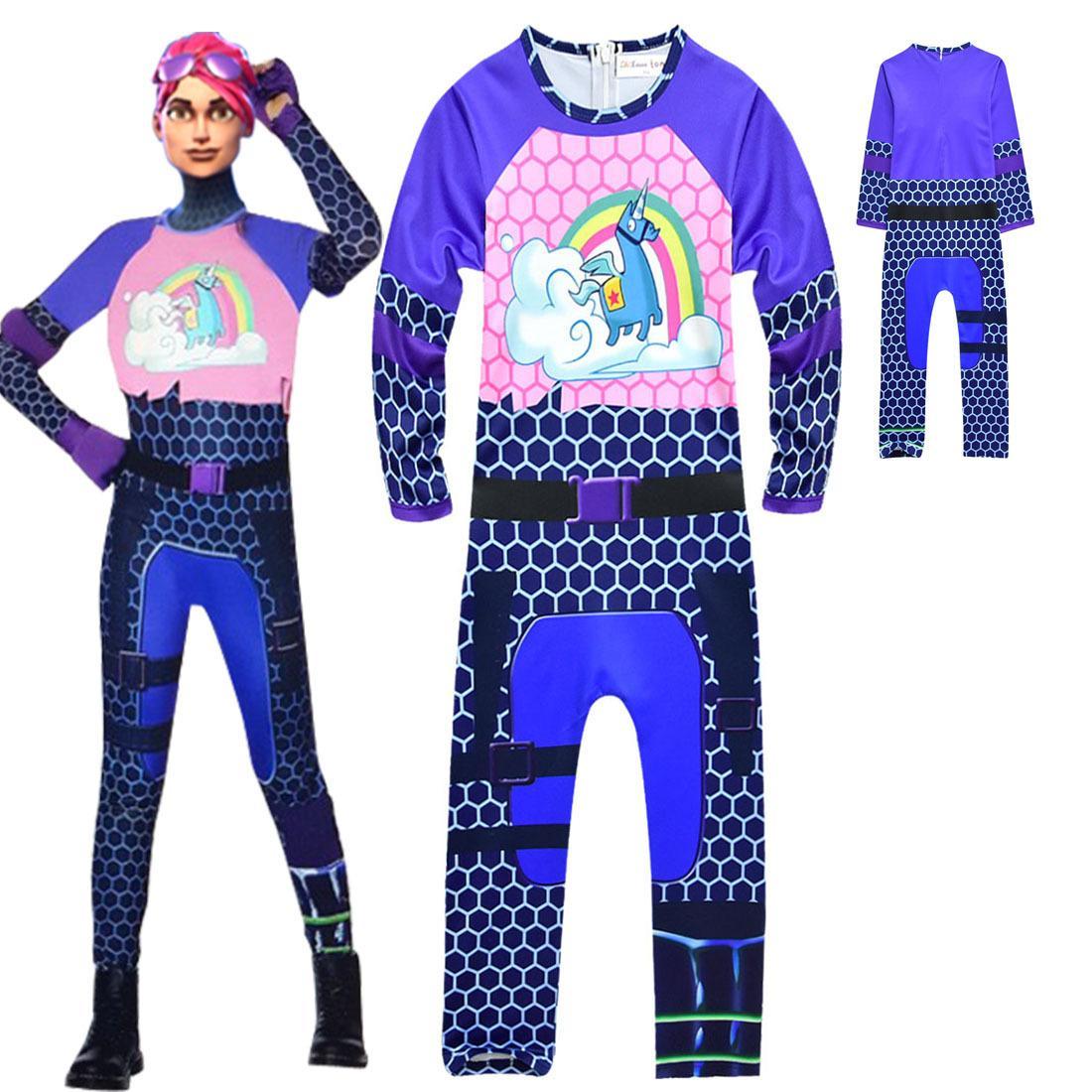 Ins Girls Fortnite Unicorn Jumpsuit Game Fortnite Cosplay Big Child Purple Printed Halloween ...