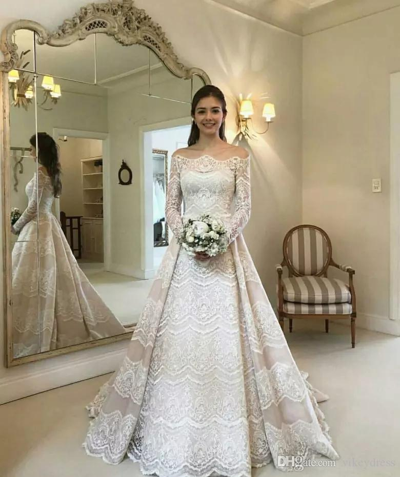 Discount Charming Long Sleeves Lace Wedding Dresses 2019 With ...