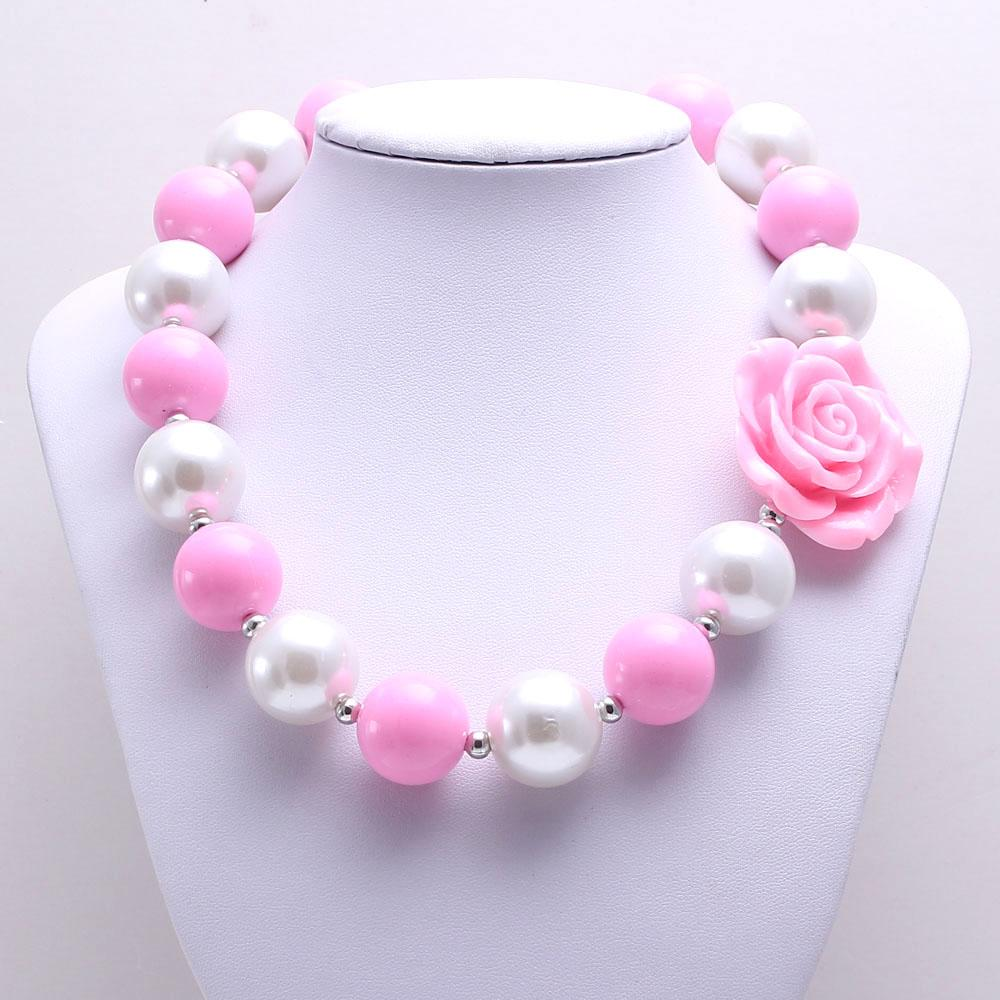 Cor-de-rosa Flor Kid Chunky Colar Mais Recente Moda Rosa + Branco Cor Bubblegum Bead Chunky Colar Crianças Jóias Para Meninas Da Criança