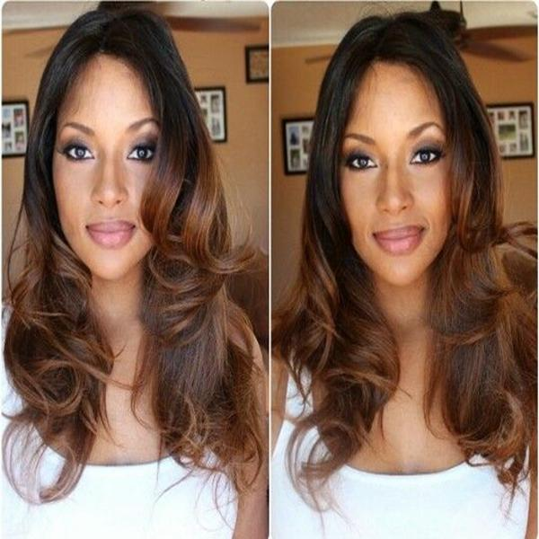 MHAZEL parte Livre ondulado glueless peruca dianteira do laço 1b # ombre # 30 Auburn cor do cabelo para os americanos africanos