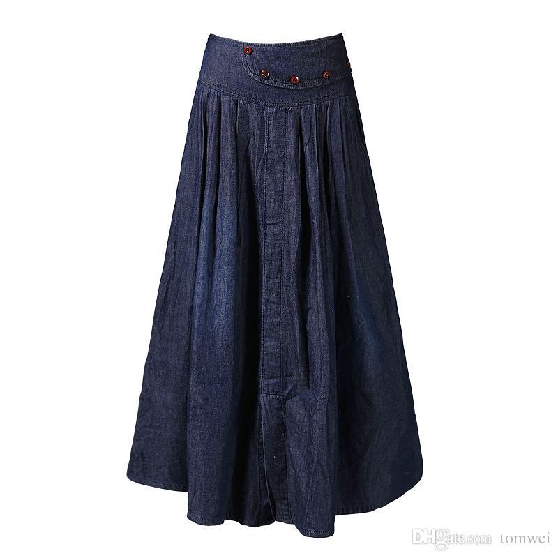 6b729df2e Faldas largas Tallas grandes para mujeres Faldas de mezclilla de verano  Cintura alta Longitud del tobillo Maxi Jeans Falda 2018 S-5XL 6XL Buena ...