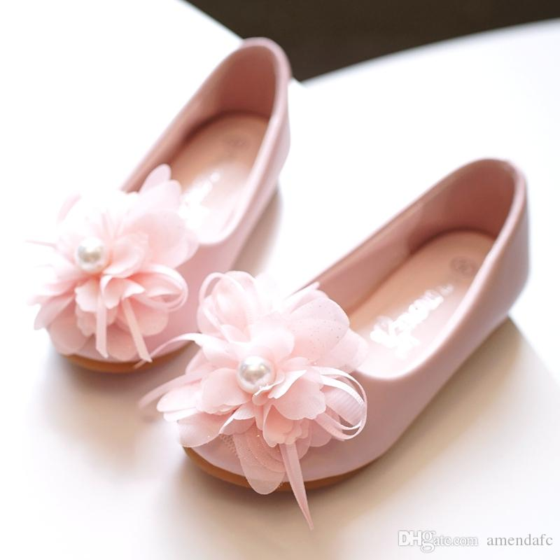 5da69c76b9f Girl S Round Toe Mary Jane Leatherette Flat Heel Flower Girl Shoes With  Imitation Pearl Satin Flower Boys Shoe Shoes For Girls Online From  Amendafc