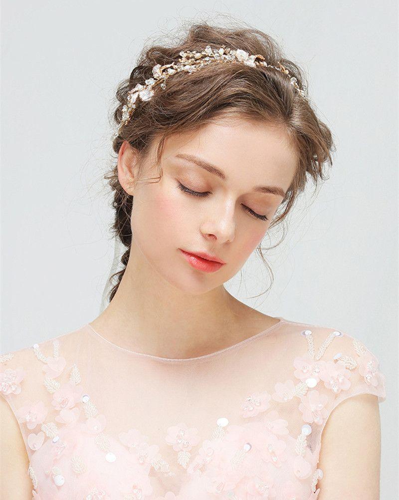 Wedding Hair Bands Hairband Headdress Pearl Crystal Bridal Headpiece Gold Bridal Headband Handmade Party Wedding Tiara Hair Accessories