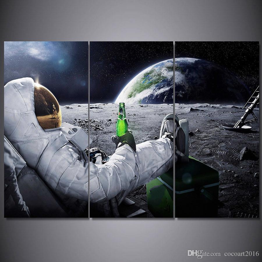 Satın Al 3 Parça Baskılı Boyama Astronot Ay Boyama Oturma Odası Için