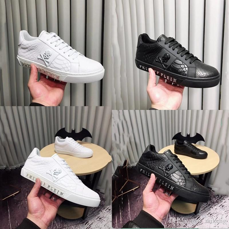 2018 High quality men running shoes men genuine Luxury brands The skeleton The crocodile grain leather casual sneakers dress shoes