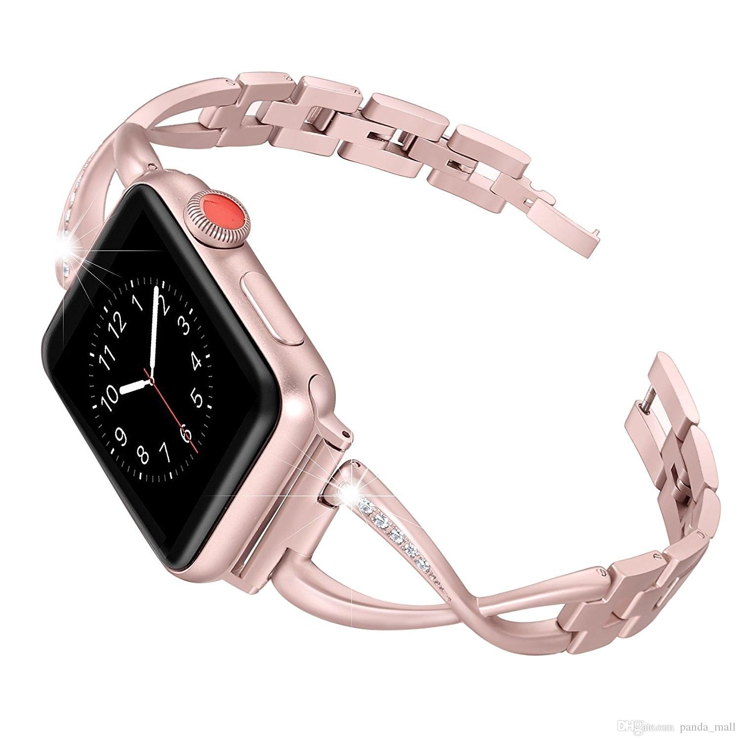 7bac5bab5c3b Women Watch Band For Apple Watch Bands 38mm 42mm Diamond Stainless Steel  Strap For Iwatch Series 3 2 1 Bracelet Wrist Watch Straps Iwatch Straps  From ...