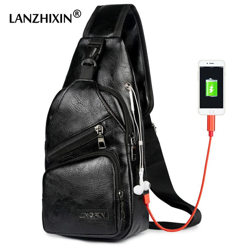 e7be2c7c46 LANZHIXIN Leather USB Charging Chest Bag Men Anti Theft Waterproof Crossbody  Bags For Women Headphone Chest Shoulder Men USB Bag Rolling Backpack Bags  For ...