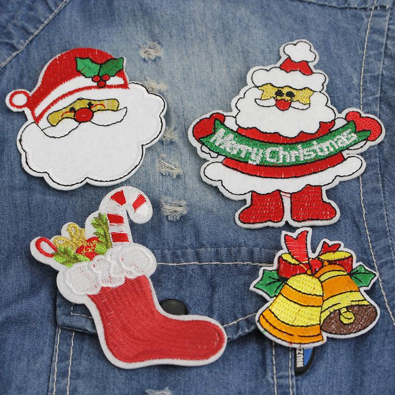 creative cartoon merry christmas pins and brooches for unisex cloth embroidery fabric santa claus jingle bells candy gift sock badge brooch - Christmas Pins