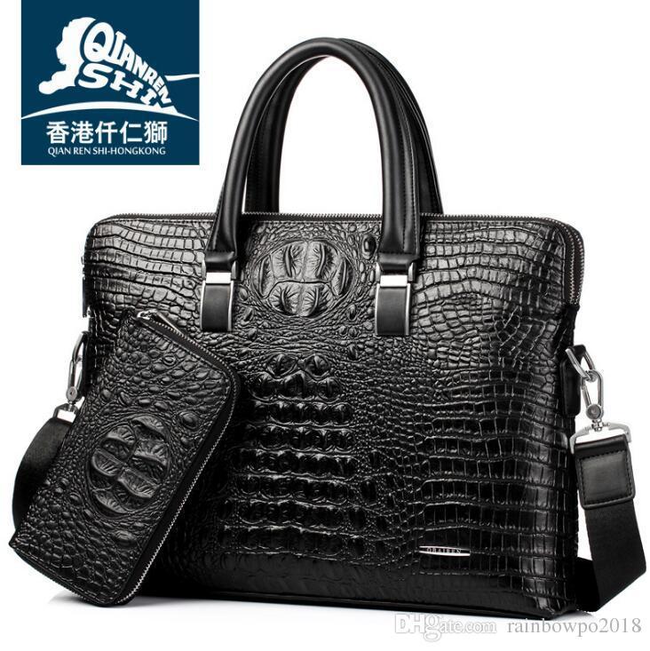 Wholesale Brand Bag High Quality Crocodile Embossed Leather Handbag  Business Men Fashion Embossed Leather Fashion Leather Shoulder Bag Work Bags  For Men ... d727794694aa5