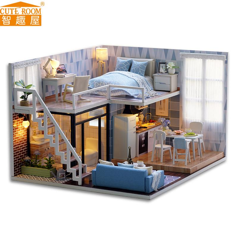 how to build miniature furniture. New Diy Miniature Wooden Doll House Furniture Kits Toys Handmade Craft Model Kit Dollhouse Gift For Children L023 Dolls Lights How To Build