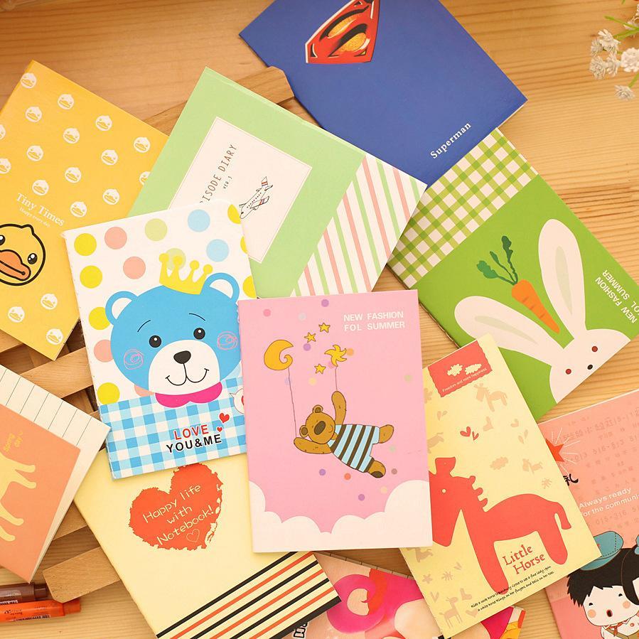 40pc/lot Cute cartoon mini books / students cute soft copy small notebook /  cartoon notebooks/children prize