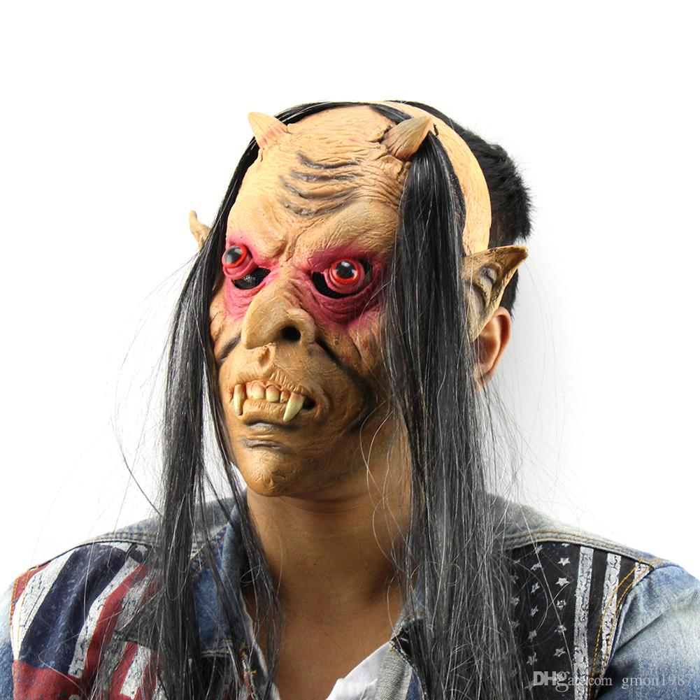 New 2017 Halloween Horror Masks Scary Mask Halloween Toothy Zombie With Long Hair Devil Ghost Mask