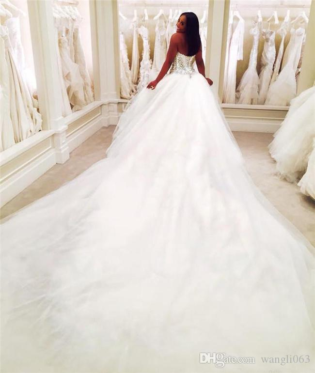 Beaded Lace Wedding Dresses Cathedral Train Crystal Custom Made Plus Size Bridal Gown Backless White Tulle Nigerian Puffy Arabic Dress