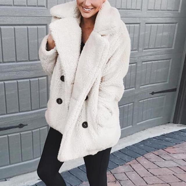 a286eabf644 Winter 2018 Plus Size Women Fleece Faux Fur Jacket Coats With Pockets  Thicken Teddy Coat Female Plush Overcoat Casual Outerwear Black Leather Bomber  Jacket ...