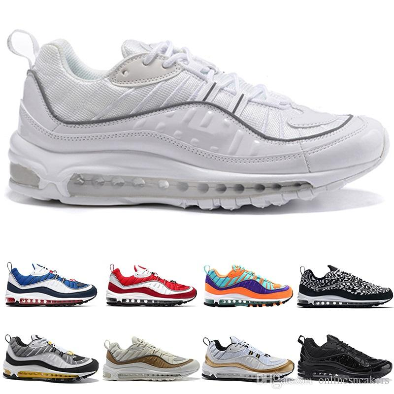 check out d219e 81236 Acheter Nike Air Max 98 Airmax 98 Hommes Chaussures De Course 98s AOP Cone  Gundam Triple Noir Blanc Tour Jaune Racer Bleu Pas Cher Hommes Course  Athlétique ...