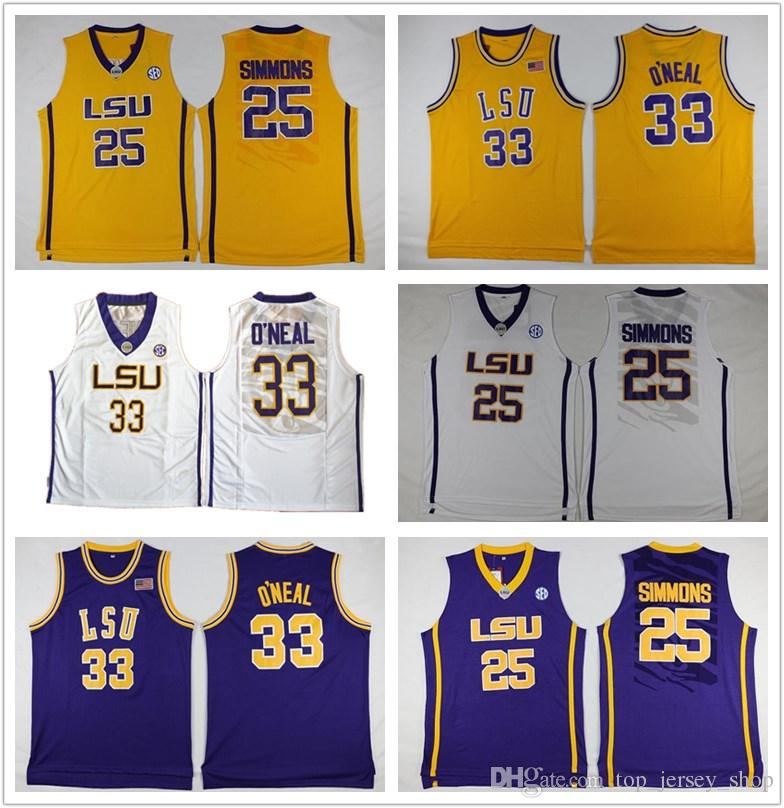 6a4bf45e1fa ... basketball jer  2018 men lsu tigers jersey 25 ben simmons 33 shaquille  oneal yellow purple white stitched college