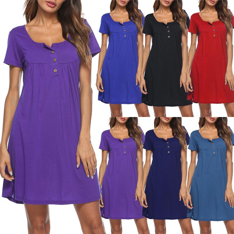 7f97a2d948178 Women Summer Dress 2019 Solid Color Square Neck Short Sleeve T-shirt Dress  Buttons Pleated A-Line Swing Mini Casual One-Piece