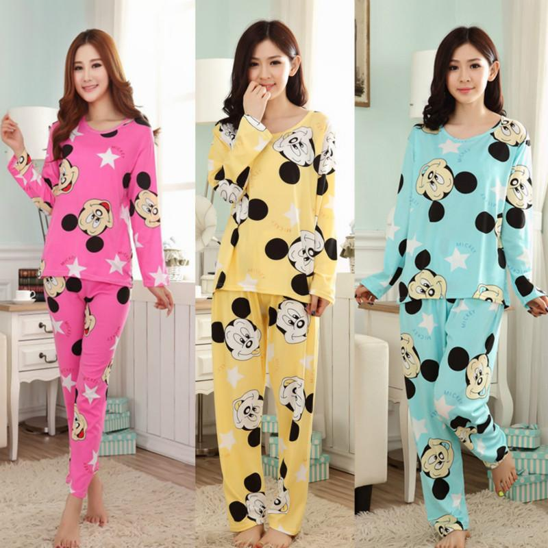 3ffa61cd527b New Fashion Casual Pajamas Sets Women Pyjamas Long Sleeve O-Neck Lady  Cotton Sleepwear Nightwear Sleep Charater Printed Suits High Quality Women  Pyjama ...