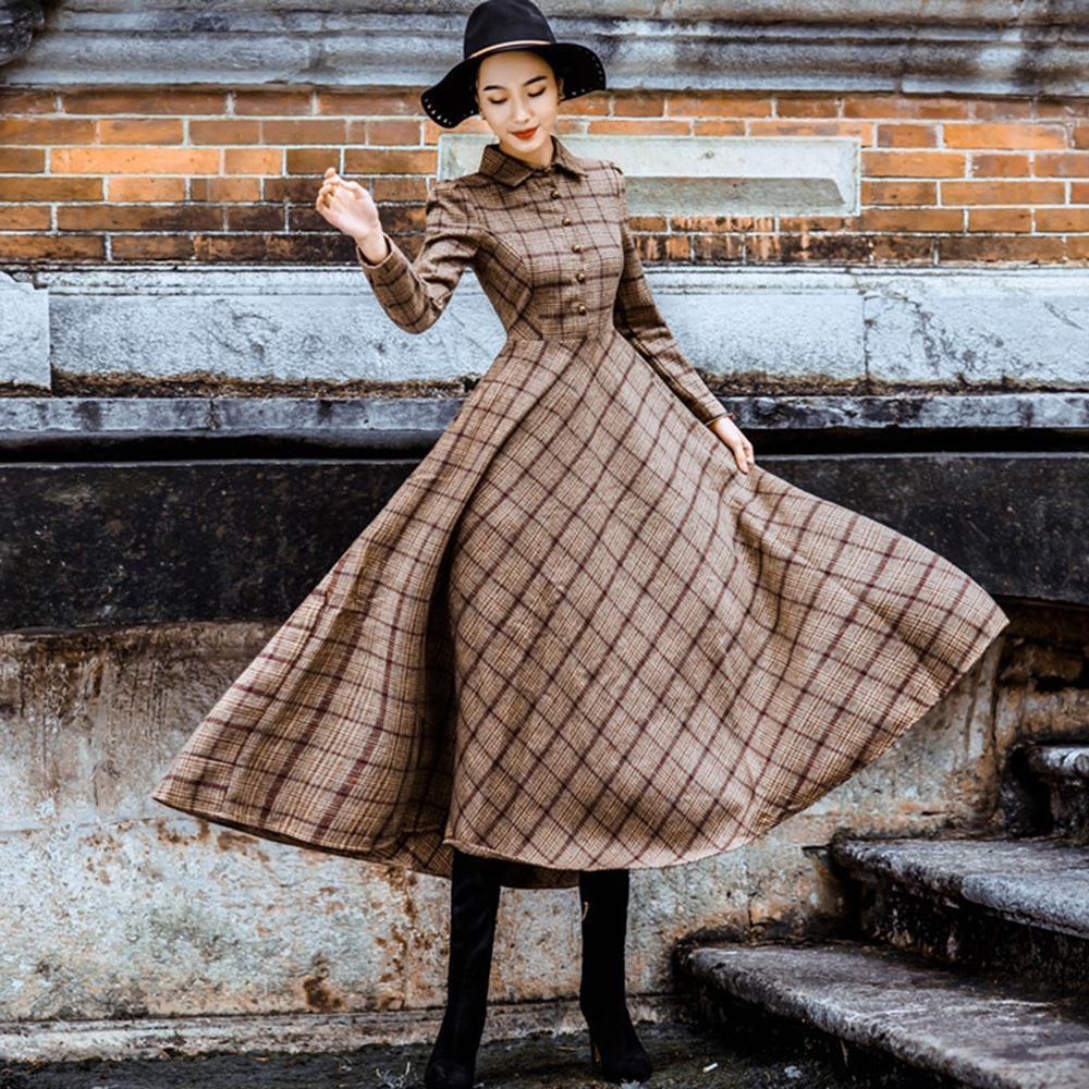 Großhandel Vintage Plaid Wolle Kleid Frauen Winter 2018 Verdicken Warm  Elegant Stilvolle Damen High Street Skinny Retro Big Swing Shirt Kleider  Von Wuyasi, ... dc569837a4