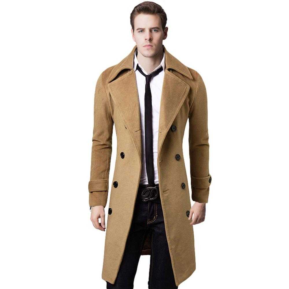 7a79c3648d 2019 XXL Overcoat Double Breasted Long Trench Coat Men Windproof Sobretudo  Masculino Slim Mens Wool Coats And Jackets 2017 From Felix06, $49.18 |  DHgate.Com