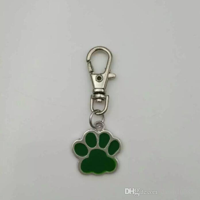 Gatos esmalte / impresiones de la pata del perro Llavero-Joyería de moda Colgante de la pata de oso de plata tibetana encanto Tenis colgante llavero anillo Llavero A1