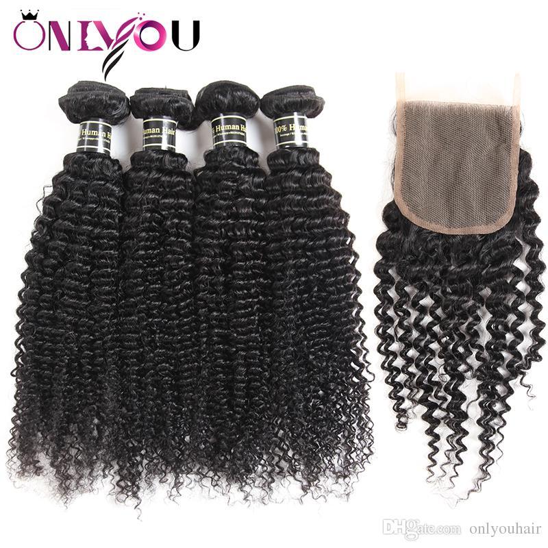 Mongolian bouclés bouclés armure de cheveux humains 4 faisceaux avec fermeture à lacet 4x4 et 13x4 faisceaux de dentelle frontale extensions de cheveux bon marché en gros