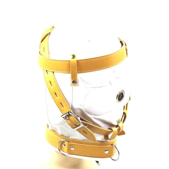 Bondage Hood Face Head Mask Blindfold BDSM Hardcore Sex Party Gear Adult Sex Toys for Women Faux Leather White HMHD-1001B