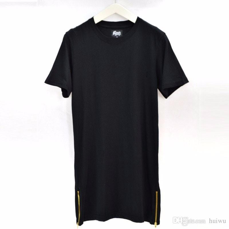 Erkek Moda Uzun T Gömlek Erkekler Siyah Casual Tops T-Shirt Erkek O-Boyun Hiphop Giyim Kısa Kollu T-Shirt