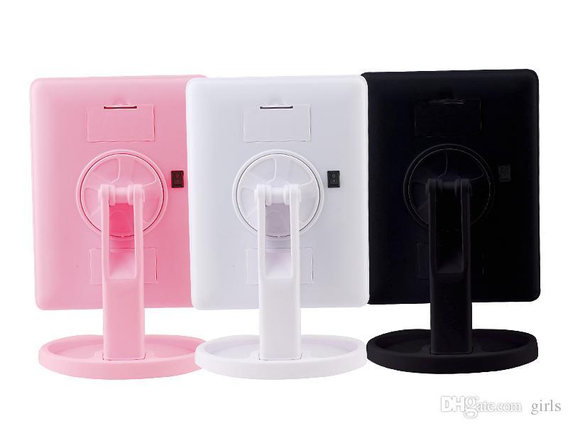 Макияж LED зеркало 360 градусов вращения сенсорный экран ванная комната туалетный косметический складной портативный компактный карман с 22 светодиодные макияж Mirr