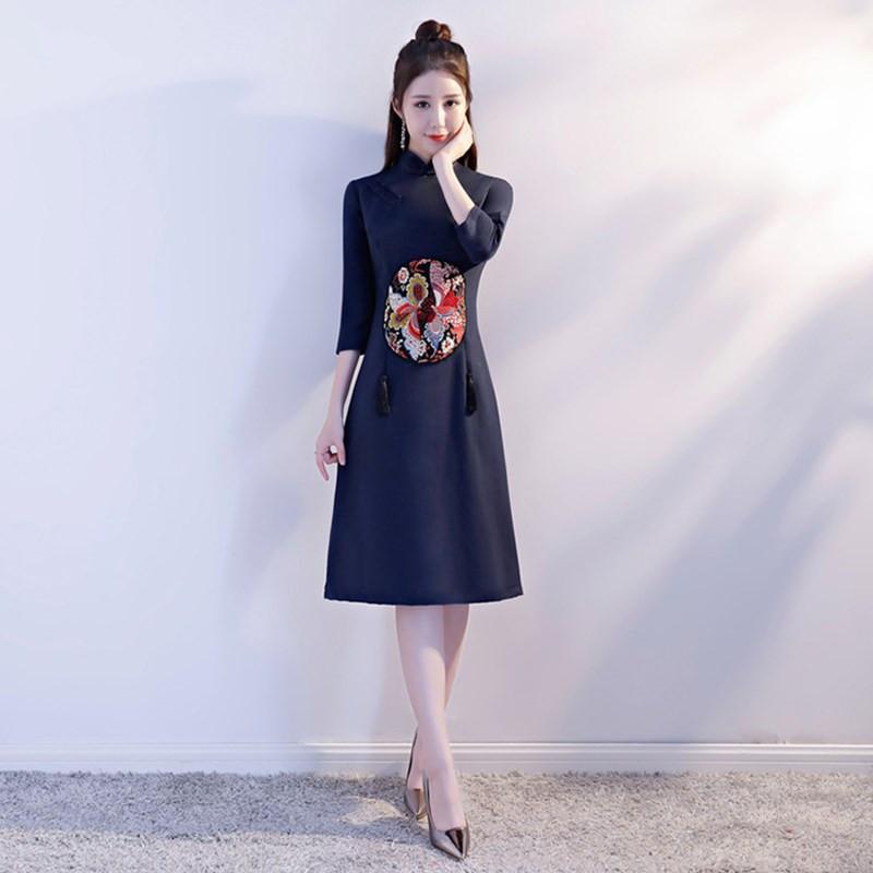 b4ff5b038e3f 2019 Elegant Business Half Sleeve Dress Sexy Wool Print Flower Hight Split Qipao  Chinese Women Mandarin Collar Cheongsam S XXL From Fitzgerald10, ...