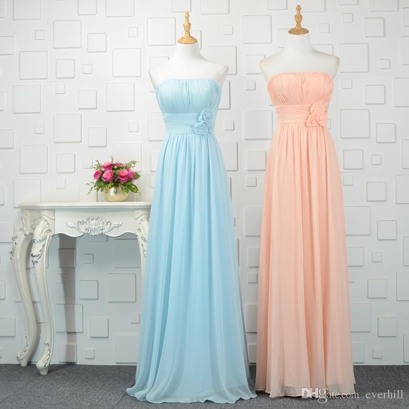 Grosshandel Einfache Chiffon Brautjungfernkleider Lange Mit Blumen