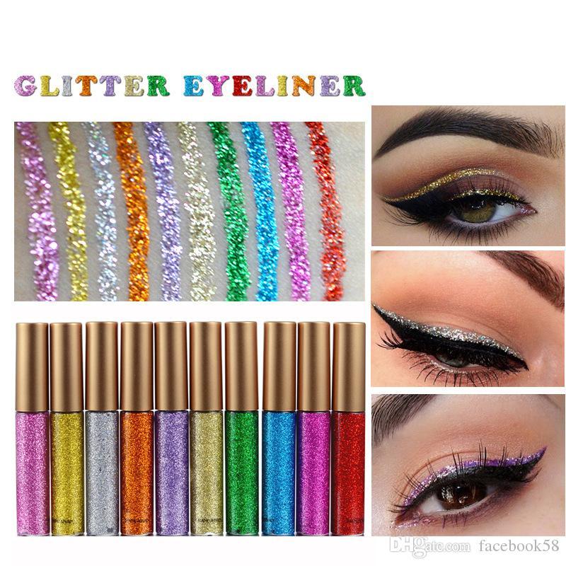 Glitter Líquido Delineador Caneta 10 Cores Metálico Brilho Sombra Para Os Olhos Colorido Brilhante Delineador Piscando Eye Drops Marca HANDAIYAN