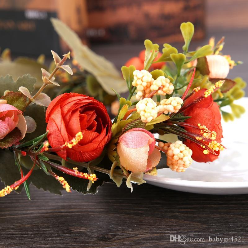 2020 Fashion Hot Sale Flower Wreath Crown Handmade Bohemia For Wedding Party Bridal Headdress Hairband Accessories Kids Girl Anadem