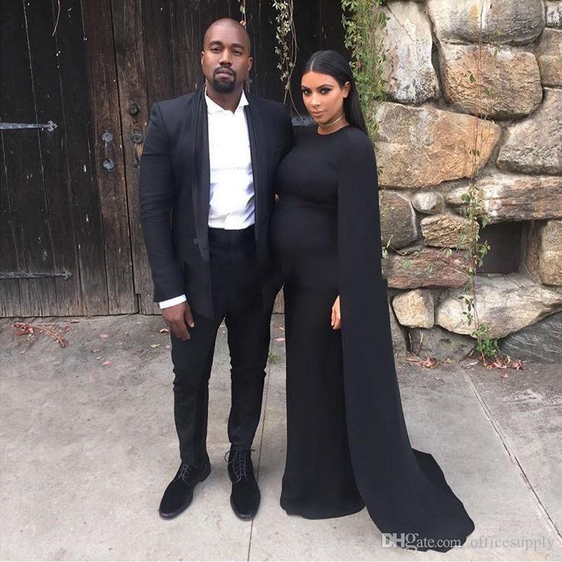 Kim Kardashian Black Jersey Celebrity Maternity Evening Gowns Wear for Pregnant Women prom Party Dress Cape Formal Gown robe de soiree