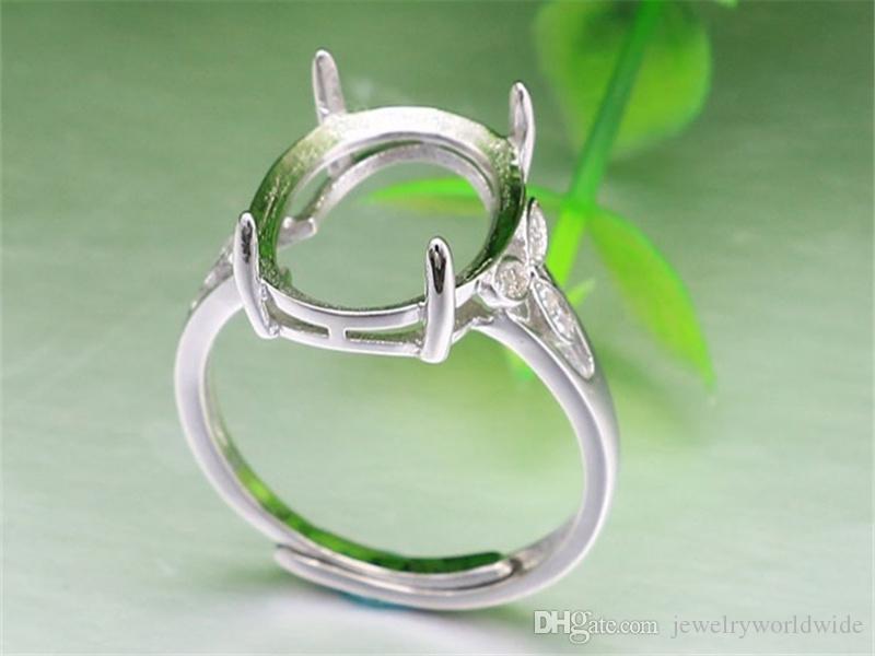 Impostazioni anello semi montante grande pietra ovale con tre foglie laterali CZ Solid 925 sterling silver gioielli da sposa sposa damigella d'onore regali