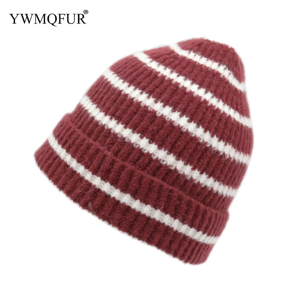 Autumn   Winter Knitted Hats For Adult Unisex Handmade Wool Stripe ... a0d8fa088ae