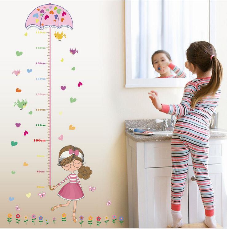 Grosshandel Cute Girl Umbrella Measure Hohe Wandaufkleber Aufkleber
