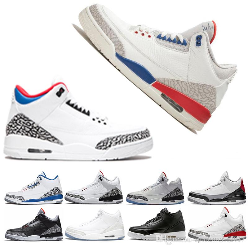 huge selection of 16b46 5ba4e Acheter Retro Air Jordan 3 Nike AJ3 3s Basket Ball Chaussures Sneaker Pour  Hommes Noir Ciment Corée Katrina NRG Tinker Ligne À Lancer Libre UNC  Infrarouge ...