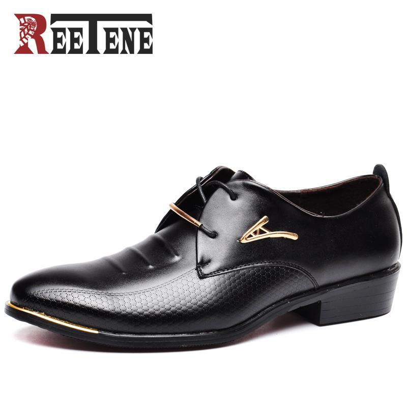 Reetene Hot Sale Men Dress Shoes Soft Pointed Toe Classic Fashion