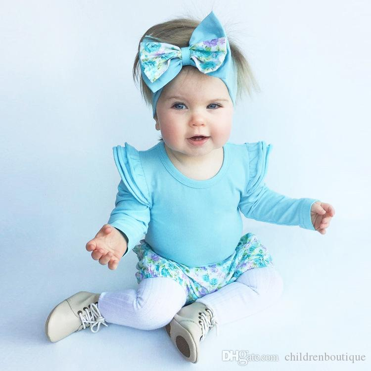 2018 New Baby Rompers Boutique Infant Baby Clothes Fly Long Sleeve 100% Cotton Baby Onesie Kids Children Toddler Girls Clothing
