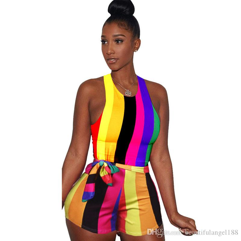 Rainbow Vertical Striped Sexy Short Playsuits Women O Neck Sleeveless Bodycon Bodysuit Summer Bow Sash One Piece Overalls