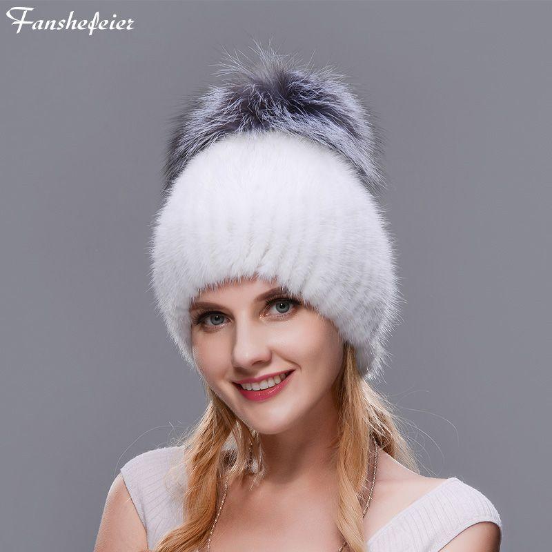 d59f67fcd14 Fanshefeier Winter Women Ski Cap Real Natural Mink Skin Fur Hat Fox Fur Ball  Warm Warm Cap Knitted Beanie Winter Woman Hat Crochet Beanie Pattern Beard  ...